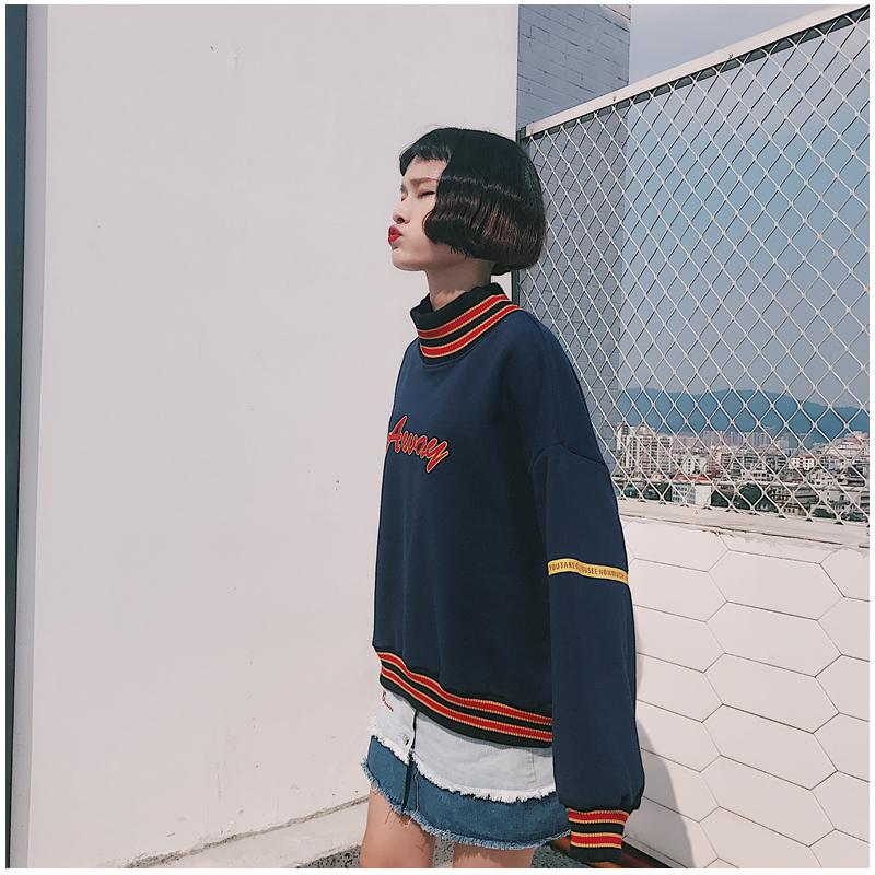 Women Hoodies Sweatshirts 2019 Autumn Korean Style Ulzzang Harajuku Letter Printed Fleece Turtleneck Hoody Sweatshirt Female Top MX190815