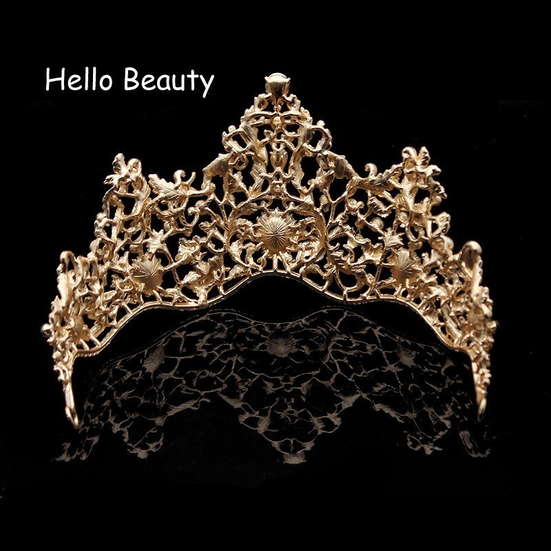 Baroque Vintage Green Rhinestone Wedding Bridal Princess Tiara And Crown Crystal Hair Accessories Queen Head Jewelry For Bride C18122501