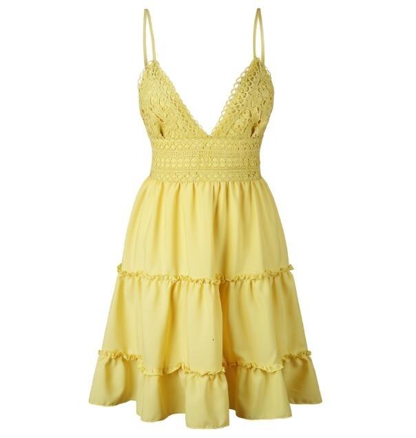 Beyaz Yaz Elbise Spagetti Askı Bow Elbiseler Seksi Kadınlar V Yaka Kolsuz Plaj Backless Dantel Patchwork Bohemian Elbiseler Mini Elbise