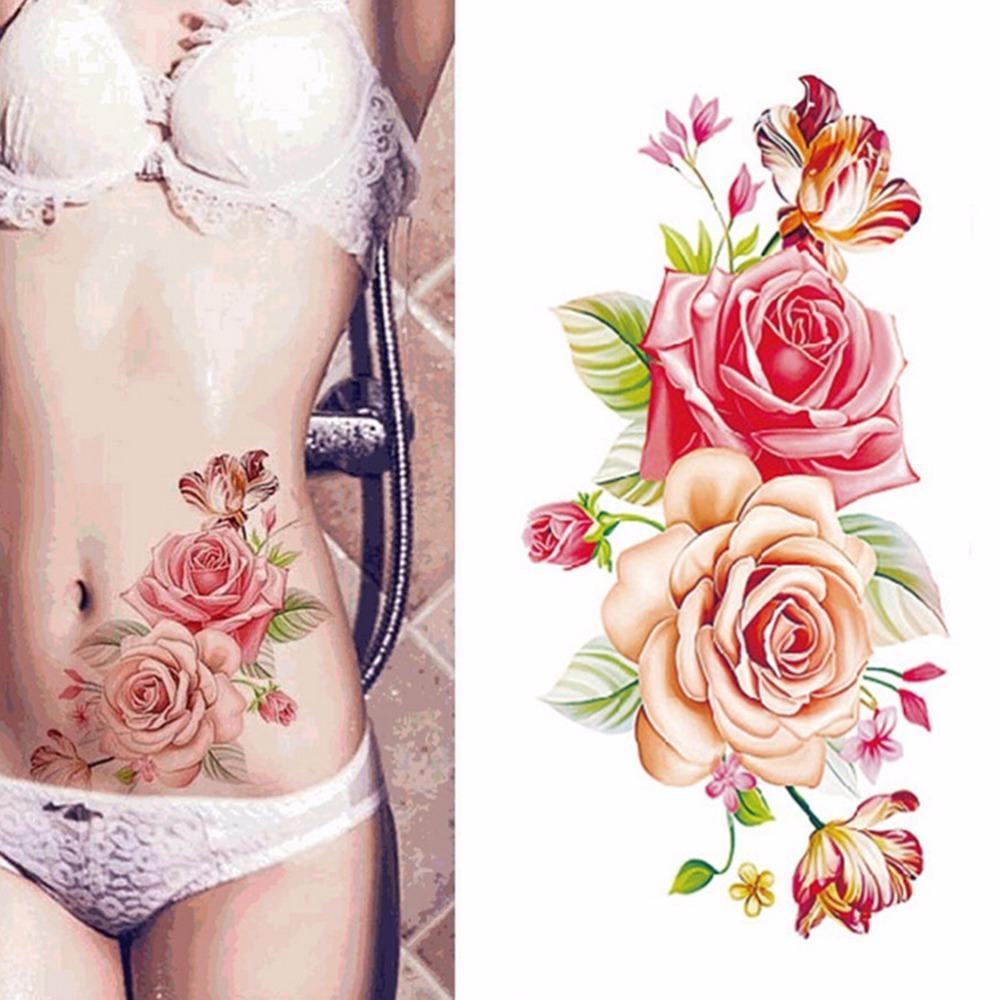 New Rose Flowers Arm Shoulder Tattoo Waterproof Lady Women Big Flower On Body Art Indian Arabic Fake Temporary Tattoos Stickers