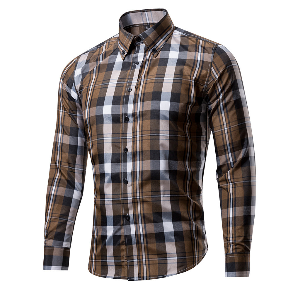 Spring And Autumn Men's Cotton Polyester Plaid Shirt Street Star Version Men's Long Sleeve Turn Down Collar Casual Shirt T5190617