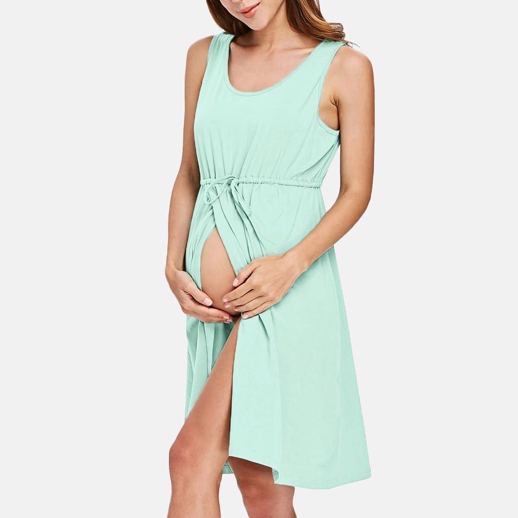 Women Maternity Dresses For Baby Showers Breastfeeding Slit Elegant Summer Nursing Dress Pregnancy Clothes Vetement Femme 19jun
