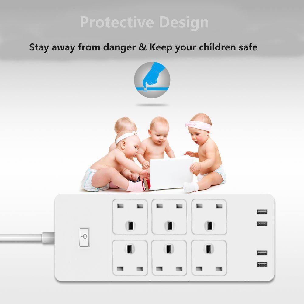 Wifi Smart Power Strip Surge Protector 6 Ac Uk Plug Outlets Sockets Usb Remote Control Homekit Work With Alexa,google Home J190517