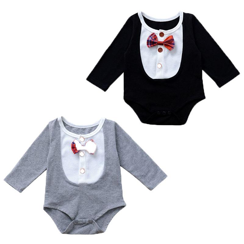 Kinder Baby Smoking Overall Anzug Strampler Jungen Kleidung Mit Druck Fliege DE
