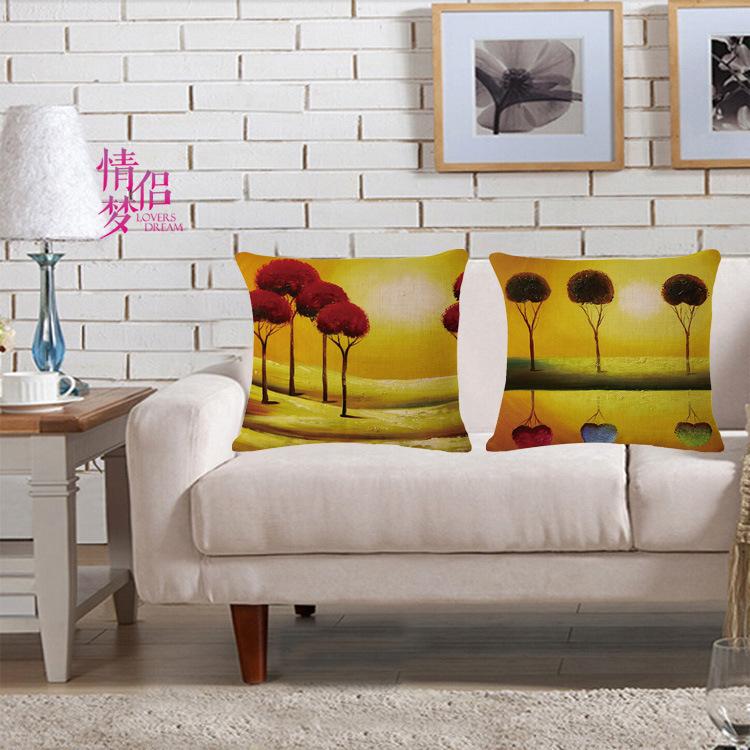 Setting Sun Tree Oil Painting Cotton Flax Pillow Back Cushion Cushion Can Customized