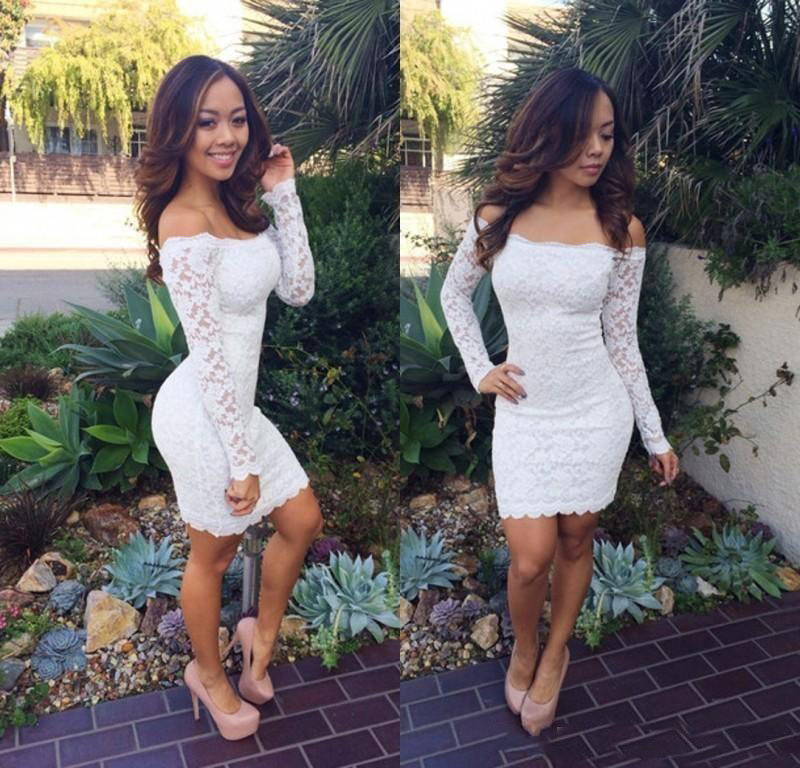 Fitted Vestidos Sexy Off The Shoulder Backless White Long Sleeve Cocktail Dresses Mini Homecoming Dresses Sheath Short Party Dresses
