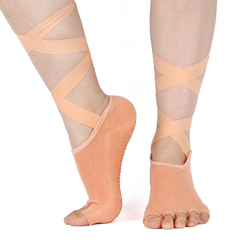 Non-Slip Skid Half-toe Socks Ladies Toeless Gym Yoga Pilates Barre Grip Socks KS
