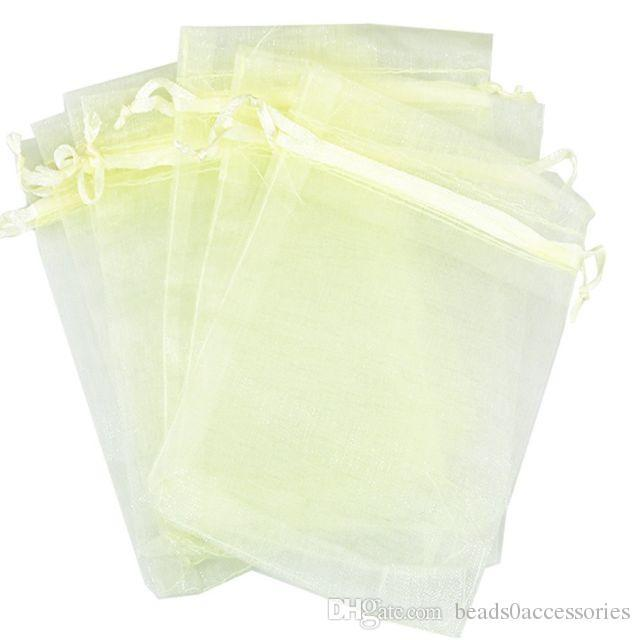 Hot Sales ! IVORY Drawstring Organza Gift Bags 7x9cm 9x12cm 10x15cm Wedding Party Christmas Favor jewelry Bags