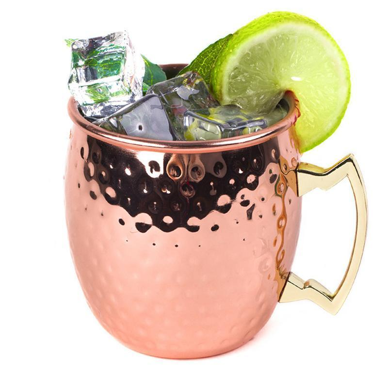 530ml Moscow Mule Mug Copper Plated Drinking Cups With Hammered Finish rose Gold C19041302