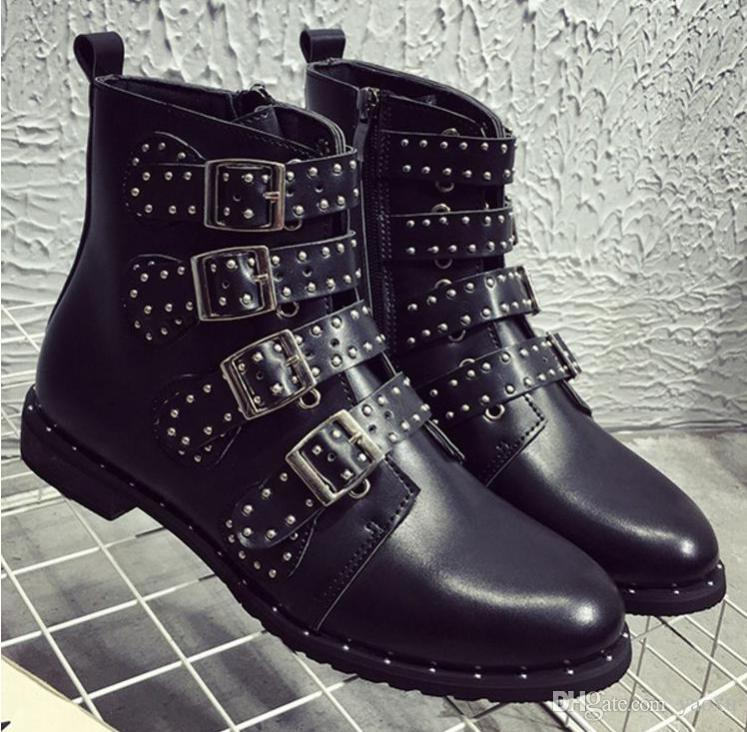 Lucky2019 Leather Rivets Booties Punk Gothic Buckle Straps Flat Heel Ankle Studded Decorated Motorcycle Woman Boots 35-43 1h22