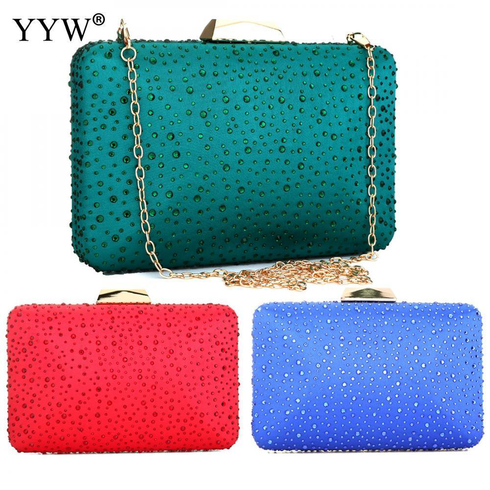 Green Fashion Evening Party Rivet Clutch Bags Wedding Cell Phone Pocket Crossbody Bag For Women 2018 Clutches With Rhinestone Y190626