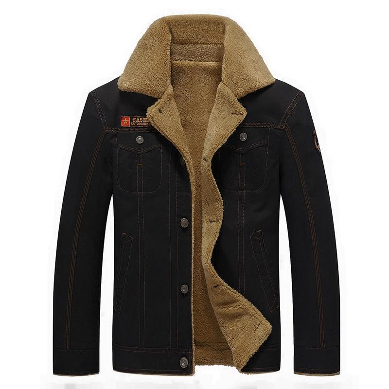 Herren Winter Warm Mantel Fleece Gefütterte Jacke Trenchcoat Windbreaker Outwear