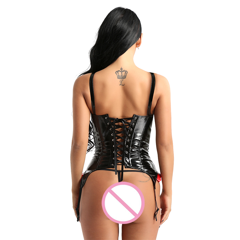 Womens Gothic Wet Look PVC Leather Overbust Bustier Corset Steampunk Slim Fit Training Body Shaper Waist Cincher with G-string
