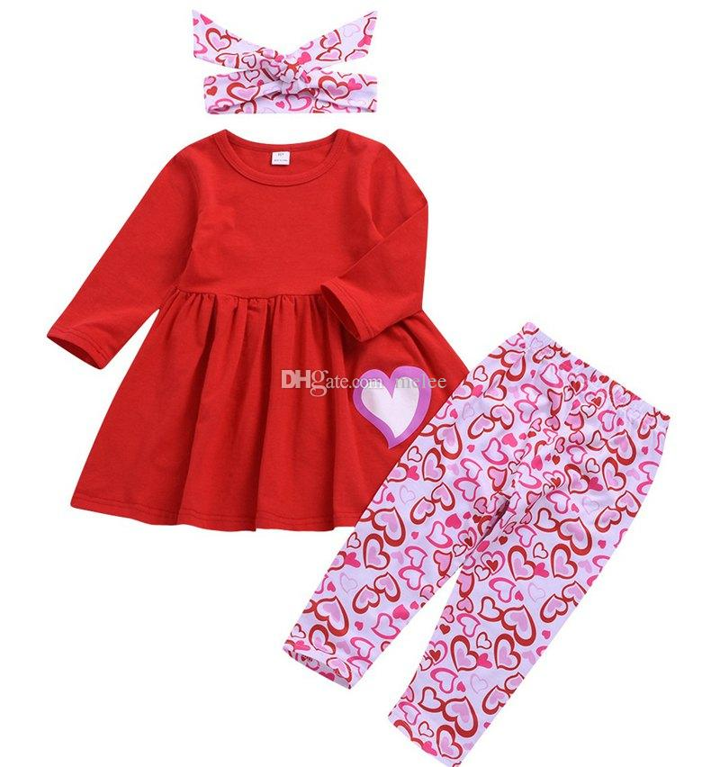 SWNONE Toddler Kids Baby Girl Valentines Day Dress Outfit Long Sleeve Top+Suspender Overall Red Dress and Headband