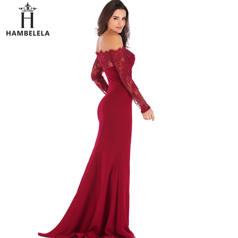 HAMBELELA Robe De Soiree Longue Long Sleeve Mermaid Evening Dresses Formal Evening Gowns China Vestido Longo Bodycon Lace Dress (9)