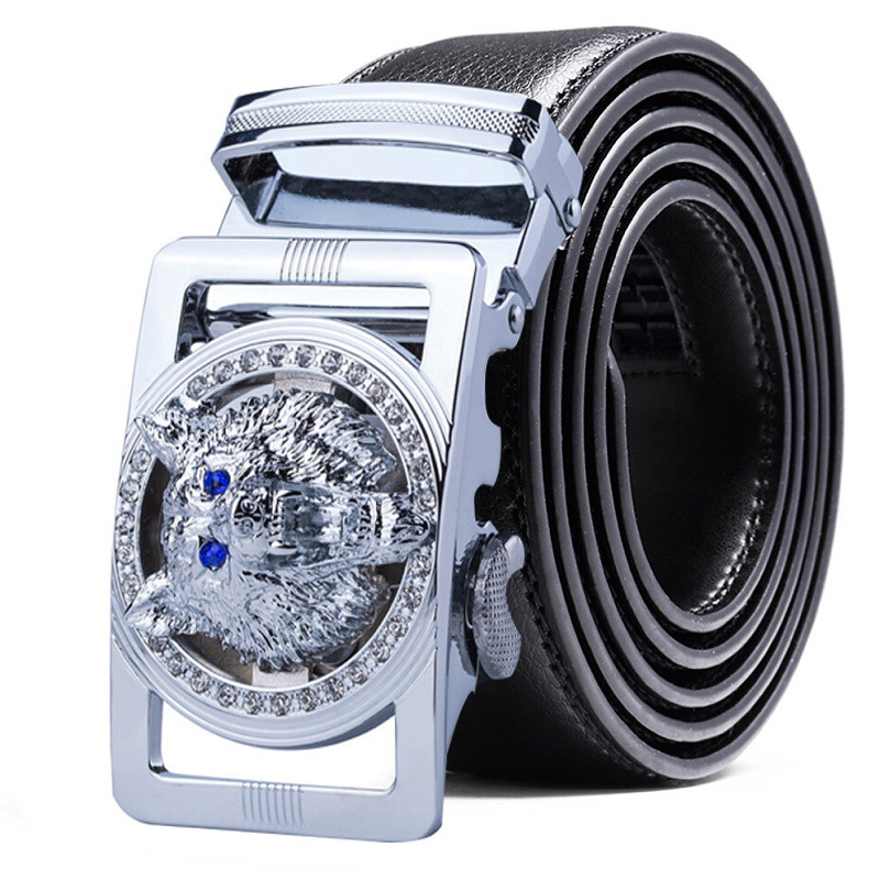 Mens Leather Belts Automatic Buckle Head Layer Leather Belt Mens Business Casual Belt