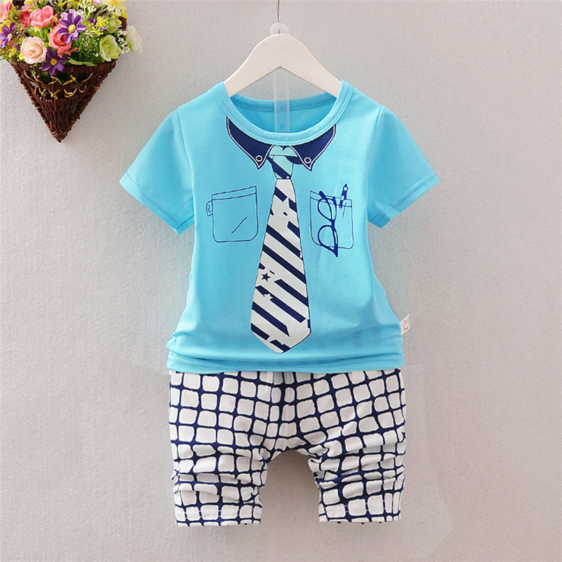 2PCS Summer Baby Sets Boy Toddler Kids Baby Boys Short Sleeve Tie Glasses Print Tops+Plaid Pants Sets Baby Boy Clothes M8Y24 (2)