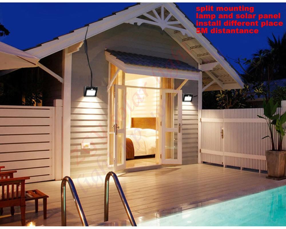 5M кабель солнечного датчика наружной индукция человеческого тела настенной лампа 56 / 30LED уличного света сплит лампа дом газон солнечного сада подвесной светильник