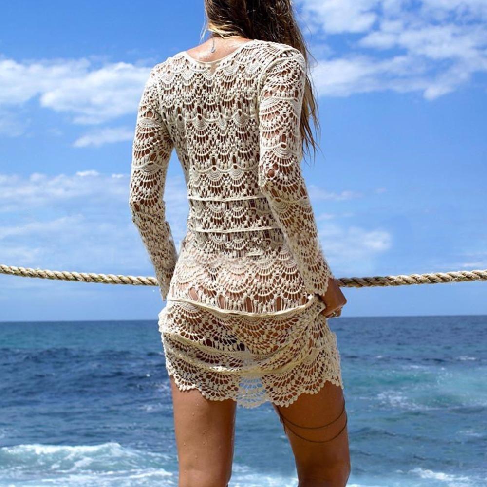 New Hollow Out Sexy Beach Cover Up Lace Knitted Crochet Beach Tunics For Women Bikini Swimsuit Swimwear Bathing Suit Beachwear J190618