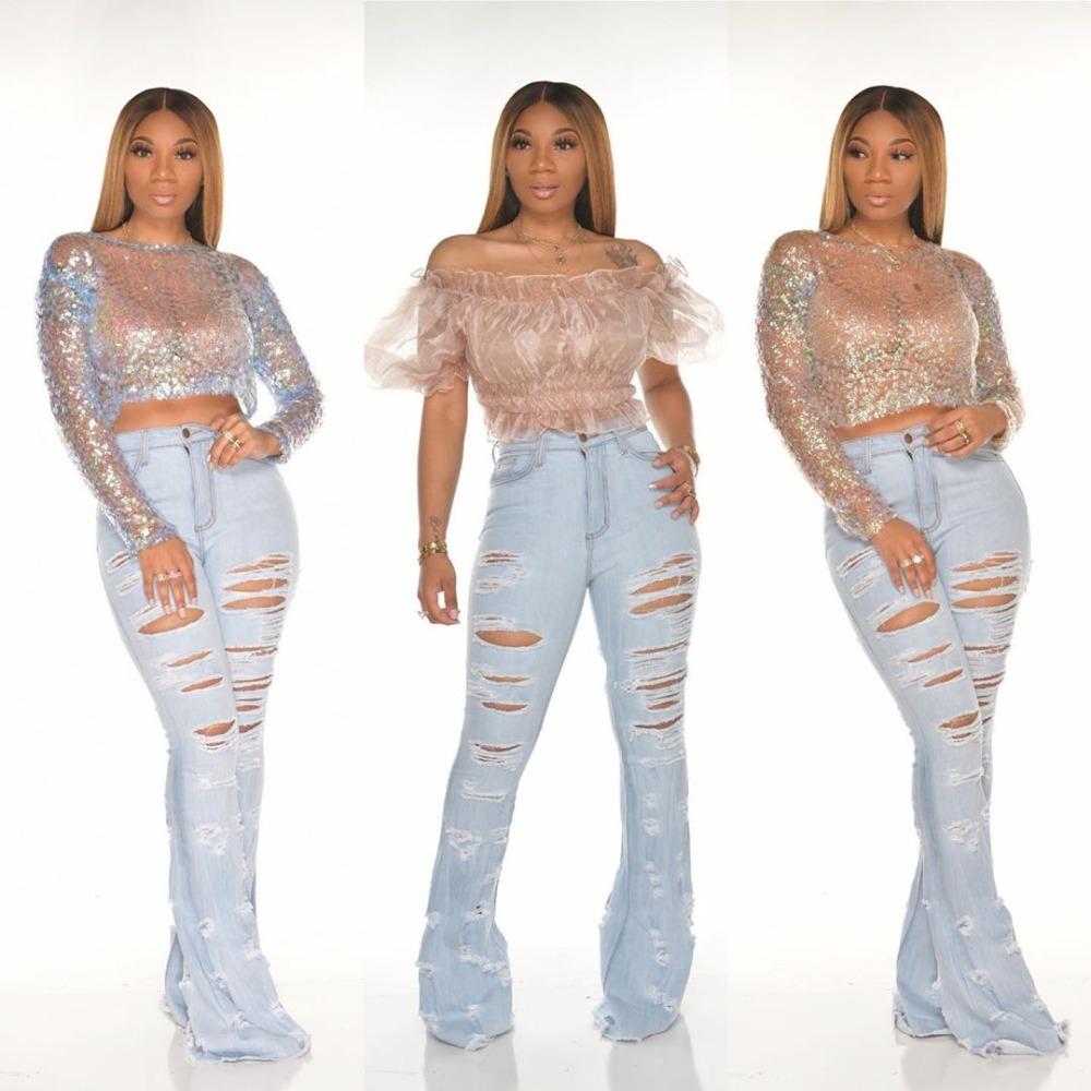 New Design fashion women Blue Color Jean Boot Cut Pants Casual Street Lady Long Denim Pants Sexy Club Wide Leg Jeans (1)