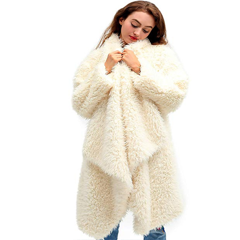 Women Fur Plush Cardigan RNTOP Casual Solid V-Neck Long Sleeve Open Front Outwear Coat for Autumn