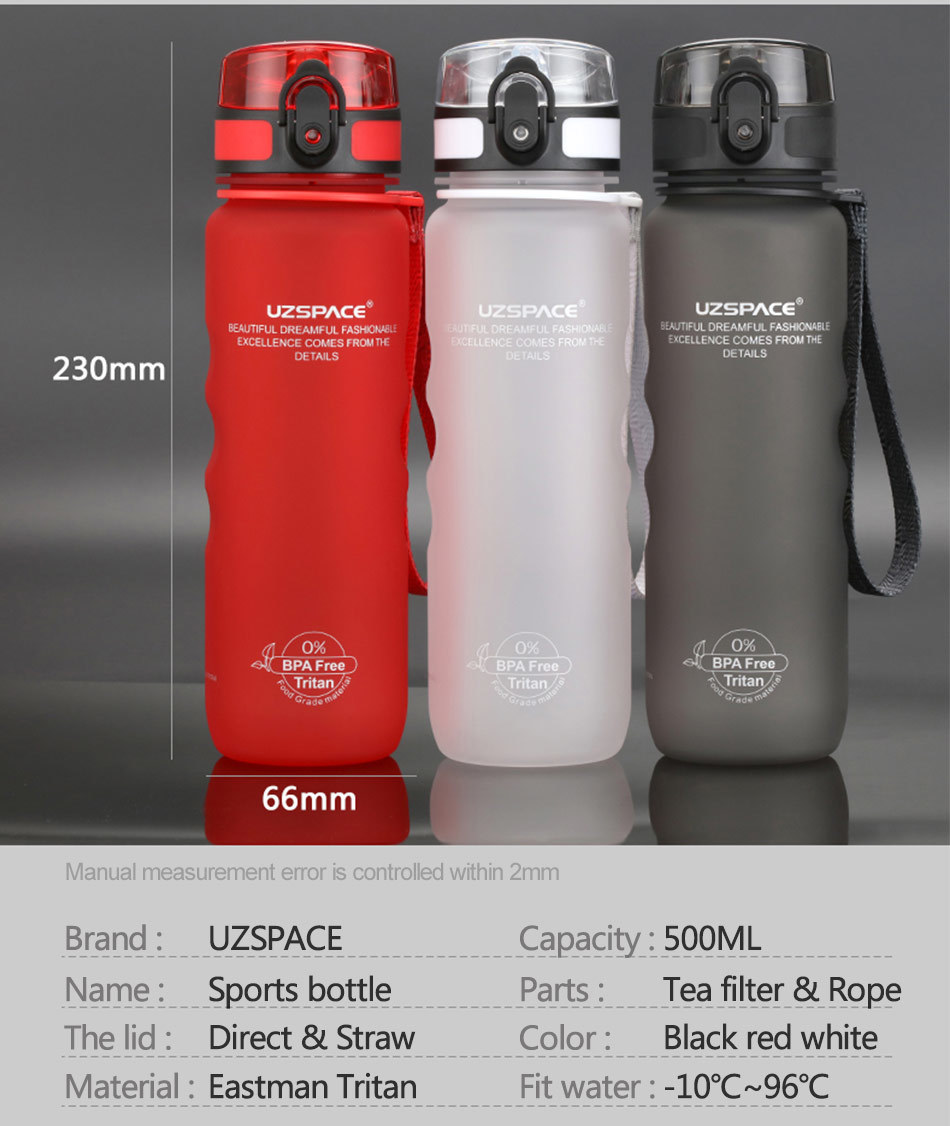 UZSPACE 0%BPA Plastic Sports Water Bottles Portable Travel Outdoor Cycling Drink Fruit protein Shaker My tea bottle 500ml 950ml_06