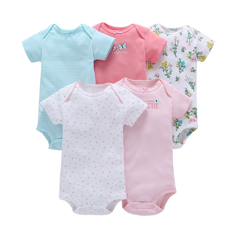 5 pieces/set summer short sleeve o-neck rompers polka dot 6-24m baby girl clothes cotton newborn jumpsuit baby boy
