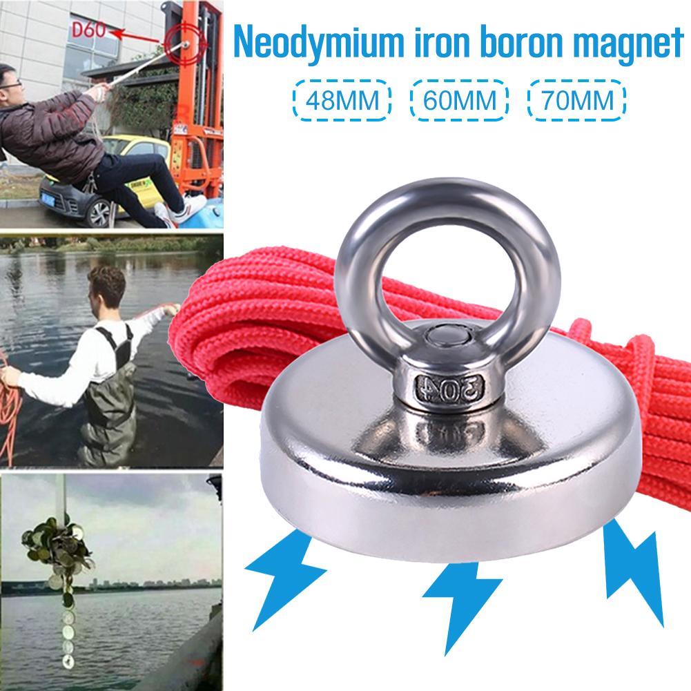 Magnete al Neodimio con 20m di Corda Potente Magnete con Foro Svasato Forza di Trazione 110 kg per Pesca E Salvataggio nel Fiume