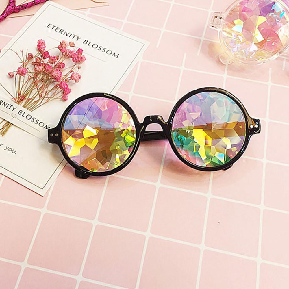 Gafas de moda Rave Hombres Ronda Caleidoscopio Gafas de sol Partido de las mujeres Psicodélico Prisma Lente Diffractada Edm Gafas de sol Mujer #