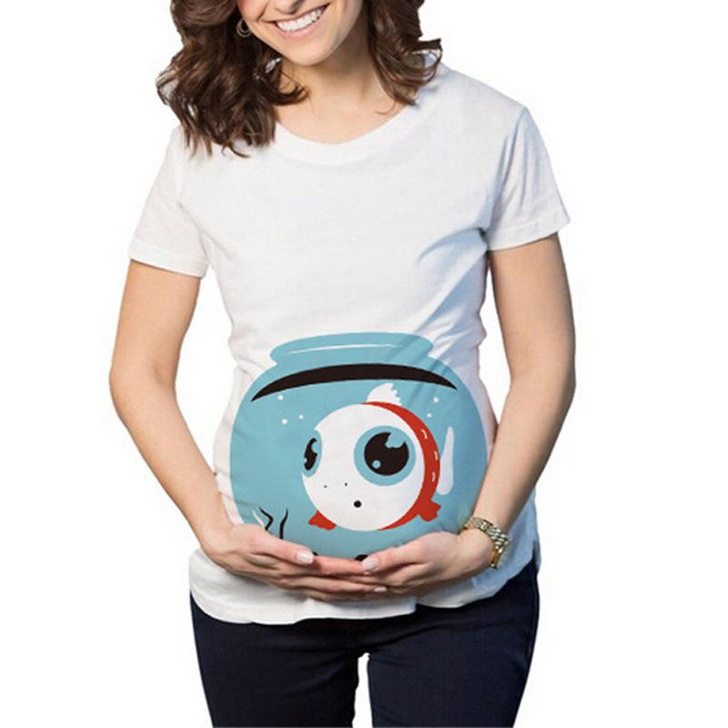 Maternity Clothes Lady T-shirt Cartoon Pattern Print Short-sleeved T-shirt Watermelon Goldfish Snowman for Pregnant Women