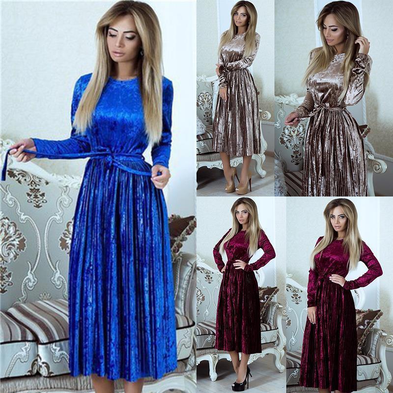 Susirita Vintage Langarm Samtkleid Frauen 2018 Bodycon Belted Midi Kleid Frühling Plissee Party Kleider Vestidos Robe Femme Q190516
