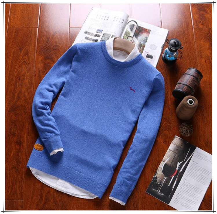 2019 new spring brand men casual sweater 100%cotton loose O-neck embroidery pullovers harmont solid long sleeve blaine sweaters