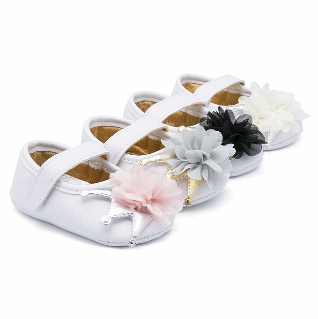 Womail Fashion Toddler Baby Girl Crib Sneakers Newborn Flower Soft Sole Anti-Slip Shoes