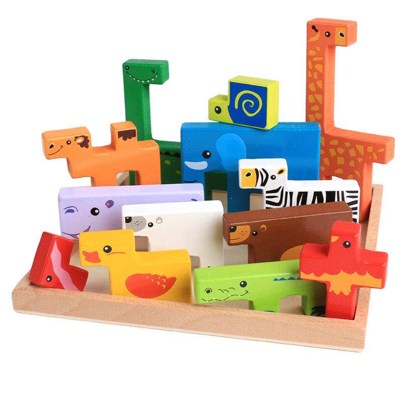 Giocattoli di legno del bambino di alta qualità Blocchi 3d Blocchi di costruzione animale Blocchi di pila Legno di faggio Regalo di Natale bambini creativi