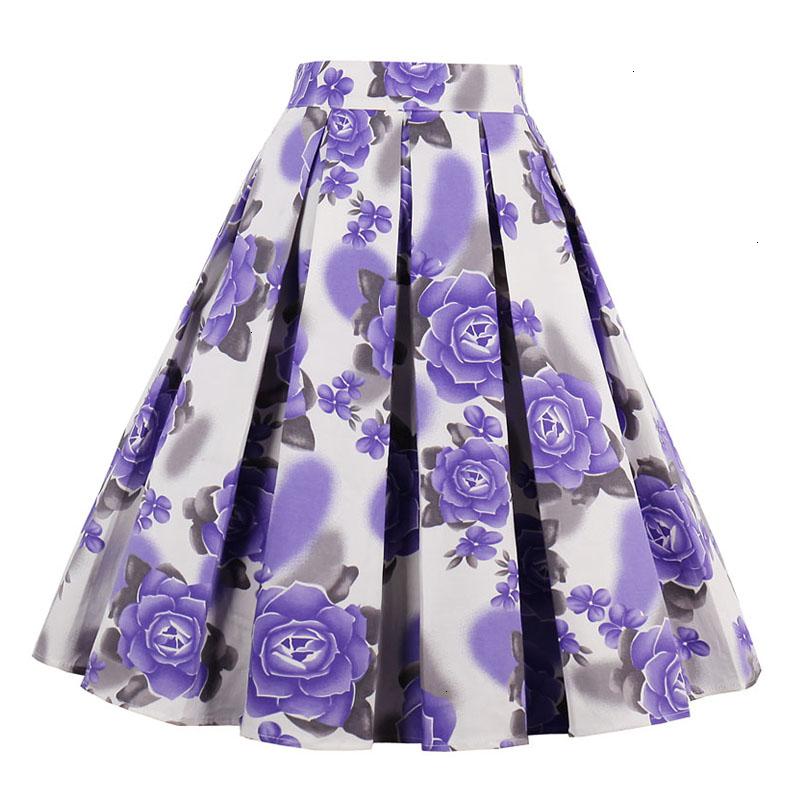 Kostlish Retro Print Flower Summer Skirts Womens High Waist Vintage Skirt Elegant A-Line Midi Women Skirt Plus Size XXL (17)