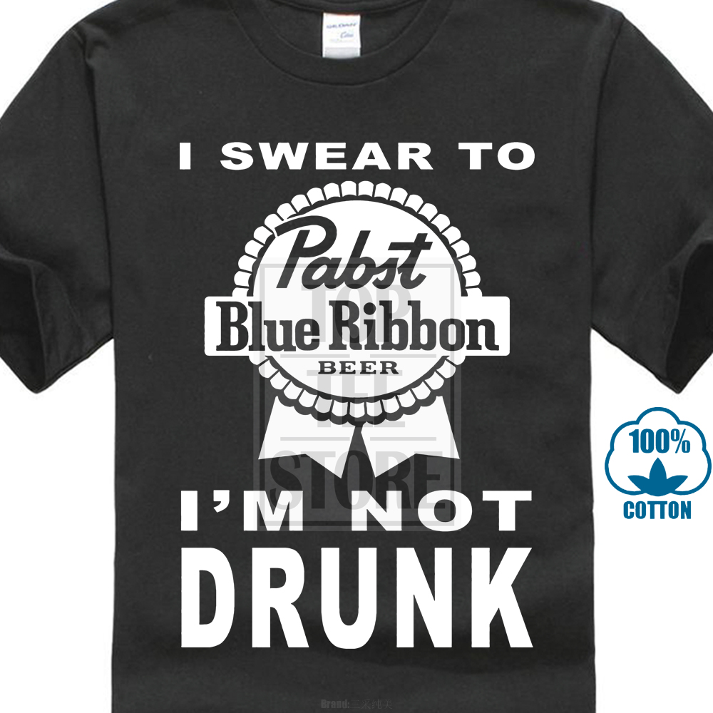 Pabst Blue Ribbon Beer Logo Custom Black T-shirt USA Size