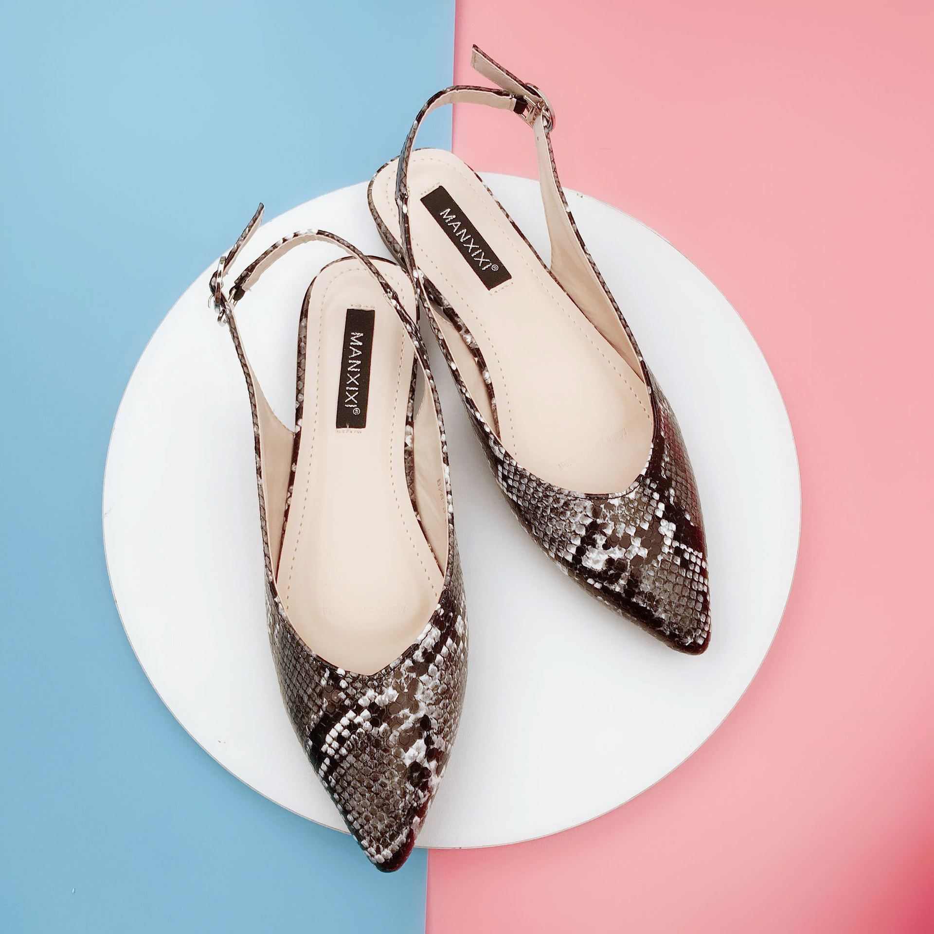 Pretty2019 змея Xiashushi зерна острый мелкий рот плоское дно сандалии низкий с 40 код женской обуви