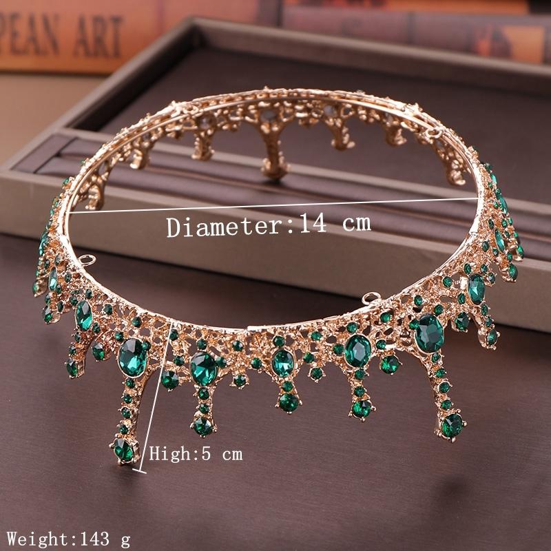 Cristal vert Tiara Couronne pour la mariée Coiffe Accessoires cheveux ronde Reine Diadem Cristal Mariage de la Couronne mariée Diadèmes de