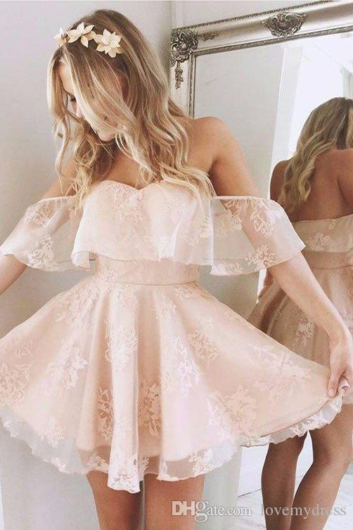 2018 Light Coral Homecoming Party Dress Cheap Off the shoulder Lace Baby Blue Short Sleeves A line Prom Graduation Dress Gowns New