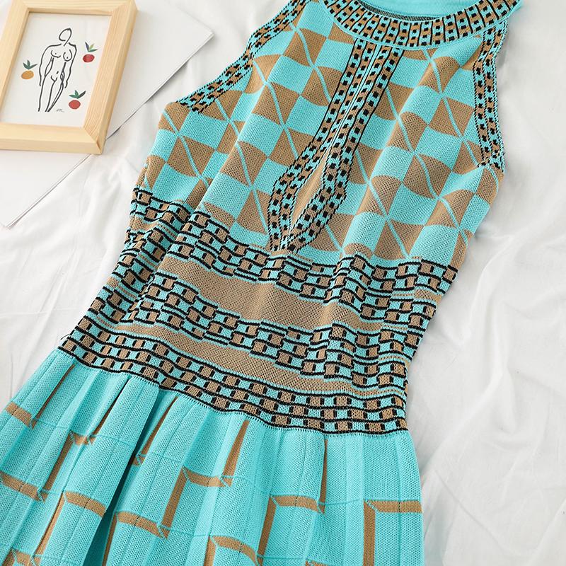 Gagarich 2019 Abito elegante da donna blu elasticizzato blu Abito senza maniche color block Patchwork Strick Reich Taille Abiti da donna Y19071001