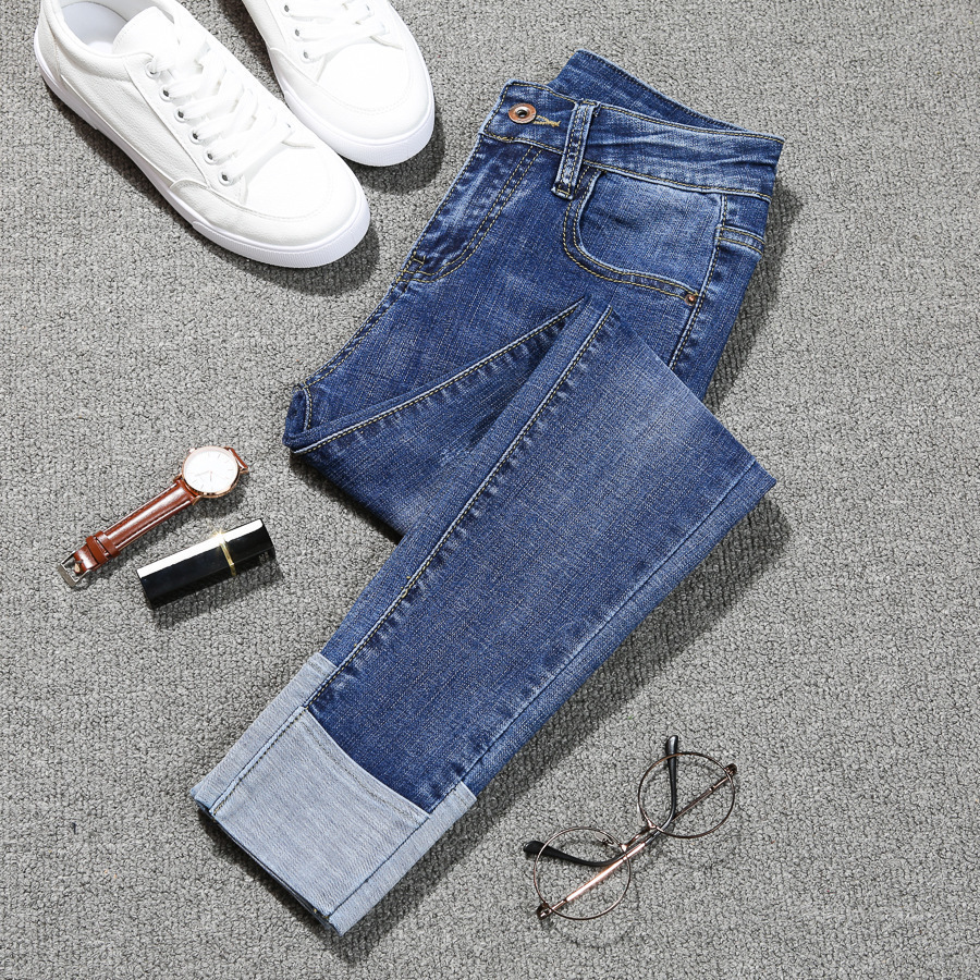 2018 neue Mode Jeans Frauen Dünne Hohe Taille Elastische Bördelung Dünne Denim Lange Bleistifthosen Frau Jeans Plus Größe O8r2 Y19072301