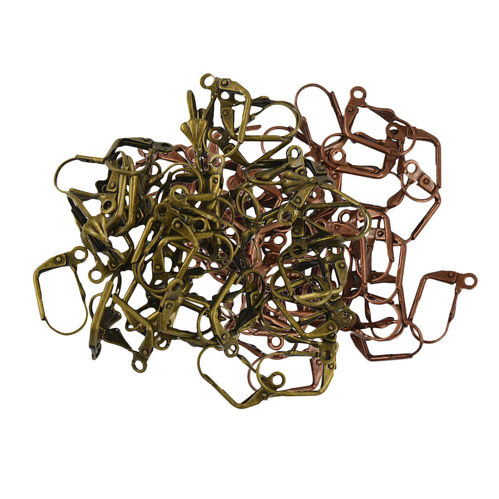 100 Pieces Copper And Bronze Color DIY Earring Findings Clip-On Earring Converter Earring Wire 17x11x5mm Jewelry Craft Making