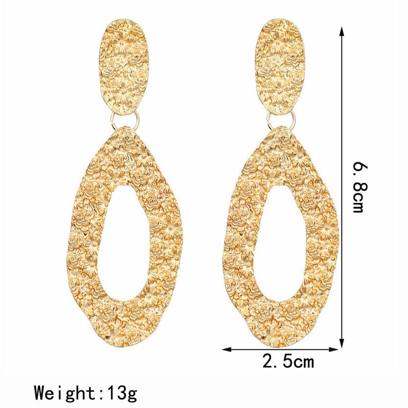Vintage Statement Gold Emboss Big Geometric Alloy Dangle Drop Earrings For Women Luxury Design Earings Fashion Jewelry 2019