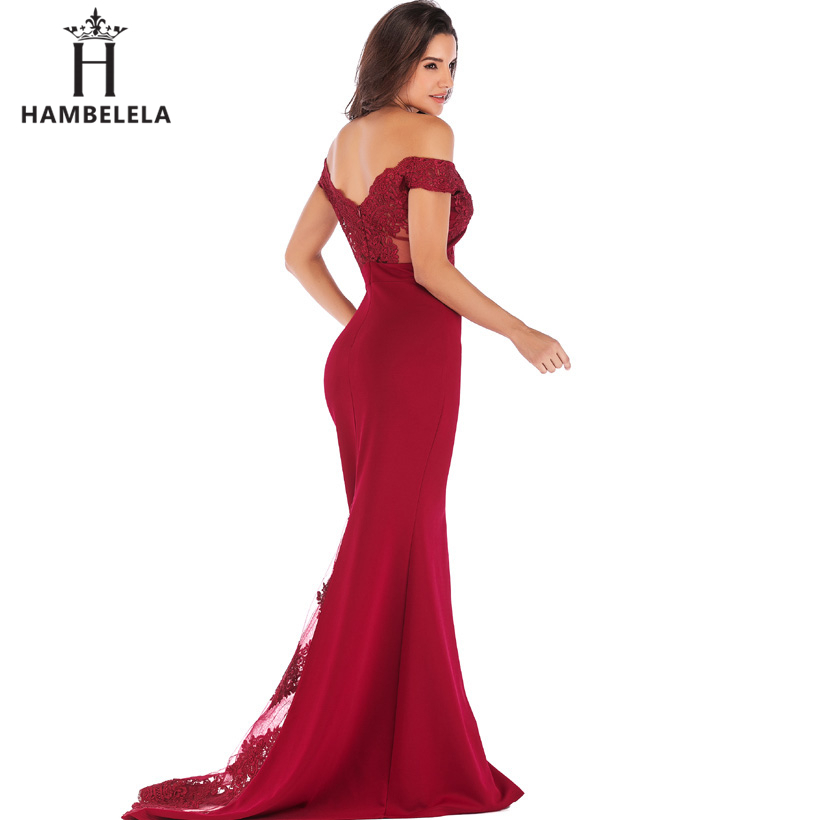 HAMBELELA Vestido De Festa Pink Black Red Mermaid Dress Lace Top Bodice Slim Long Formal Party Dress Charming Wedding Party Gown (18)