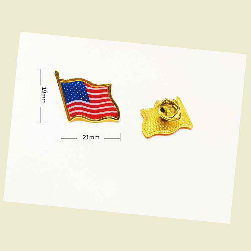 hot sale American Flag Lapel Pin United States USA Hat Tie Tack Badge Pins Mini Brooches for Clothes Bags Decoration