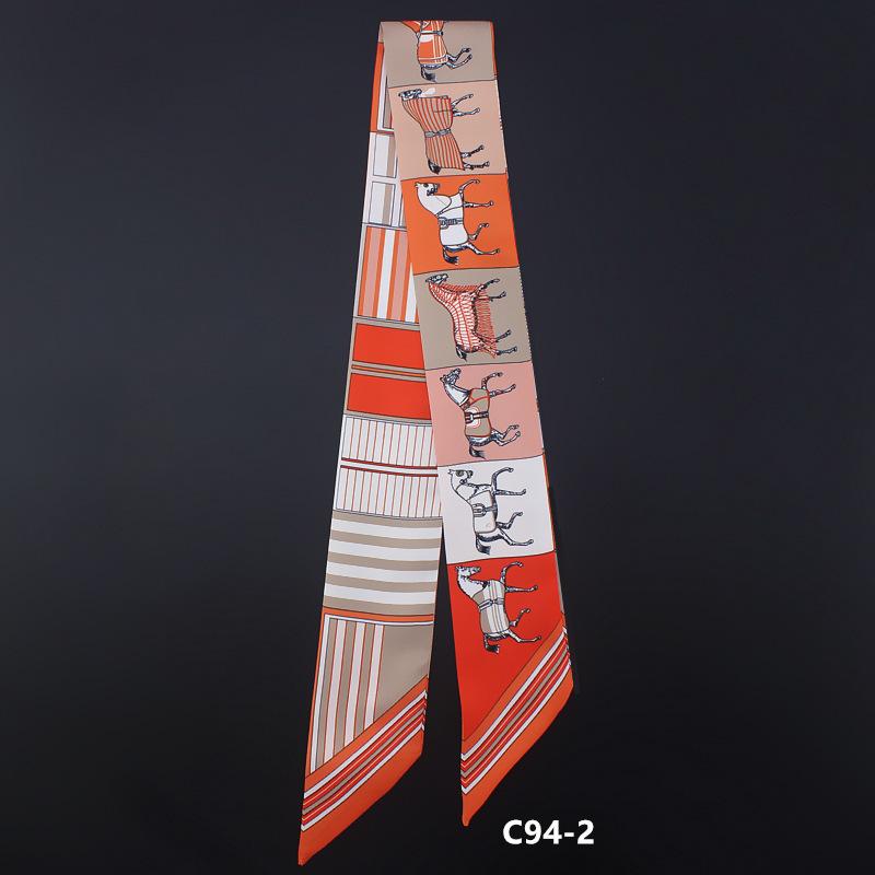 2018 pferd muster neue ankunft drucken dame seide gefühl band schals taschen schal kleine band haarband bandeaus kleidung match c19011001
