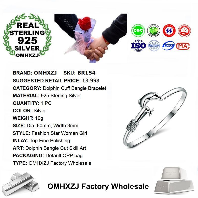OMHXZJ Wholesale Personality Fashion OL Woman Girl Party Gift Silver Dolphin 925 Sterling Silver Cuff Bangle Bracelet BR154