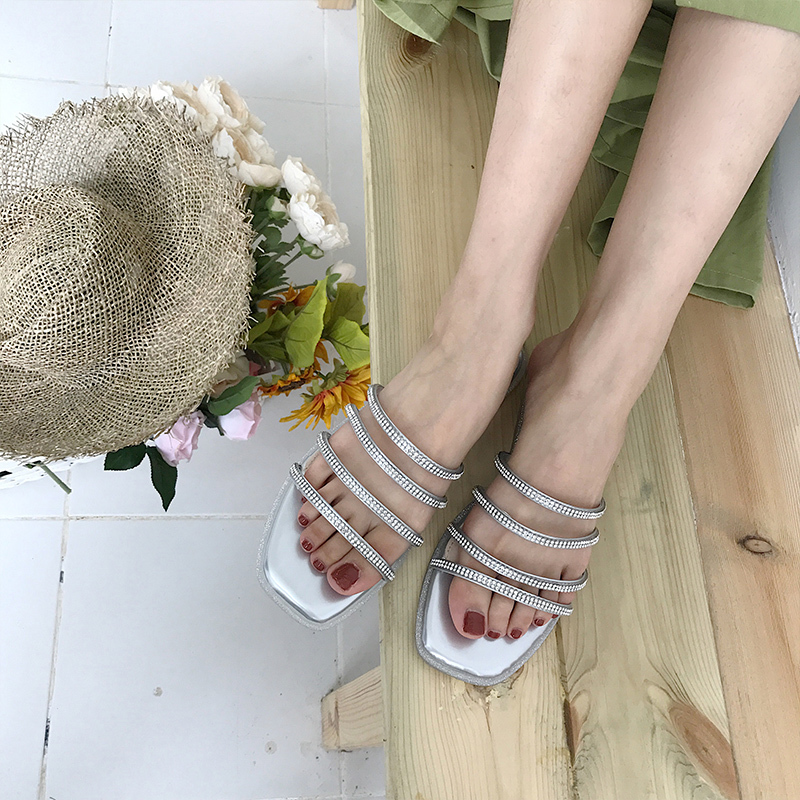 Gorgeous2019 Woman Other Clothes Rhinestone Cold Drag, Summer And Baitao One Word Fasciola Soft Flat Bottom Slipper
