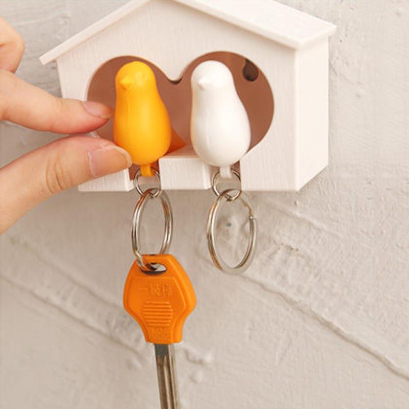 Schlüsselanhänger Vogel Blumen im Kreis Tier Spatz bronze Anhänger Keychain