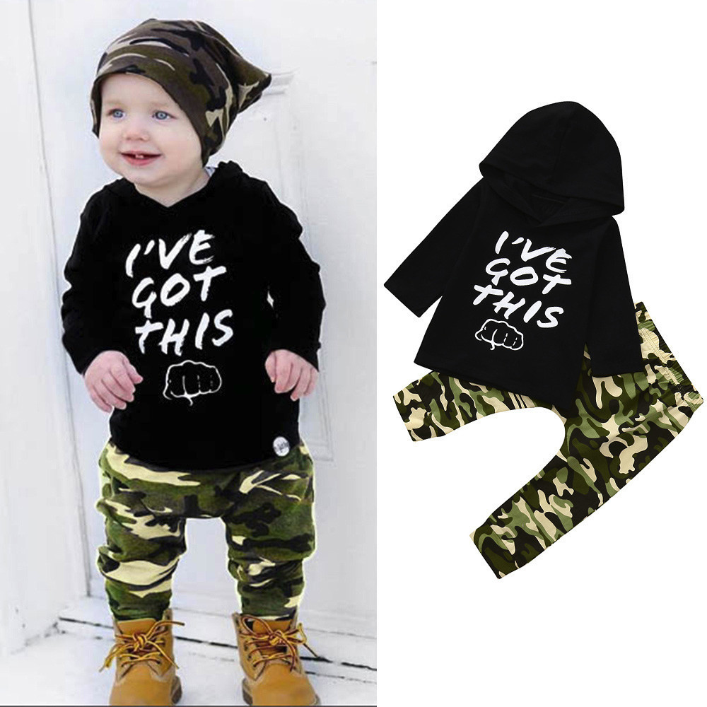 good quality Baby clothing set camouflage Set Tops+Pants Outfits winter clothes for baby roupa menino ropa recien nacido suit